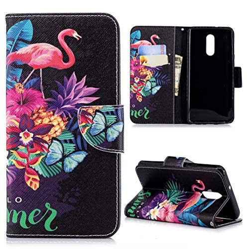 ainted Wallet Case PU Leather Credit ID Card Magnetic Flip Protective Skin Shell with Wrist Rope for LG Q Stylo 4 ZSTVIVA - Pineapple Flamingo ()