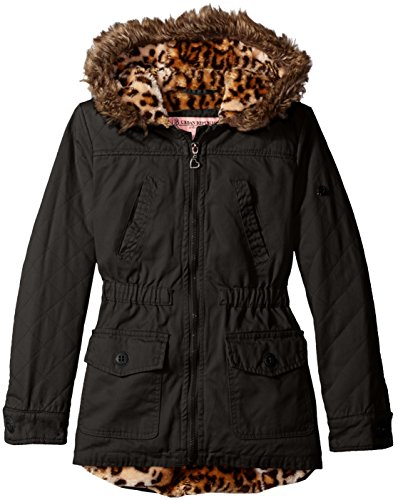 Urban Republic Big Girls' Cotton Twill Quilted Jacket, Black, 10/12 (Black Kids Jacket Twill)