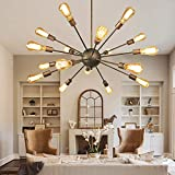 NEUTYPE Antique Design 18-Lights Sputnik Chandelier - Oil Rubbed Bronze Finish, Retro Pendant Chandeliers