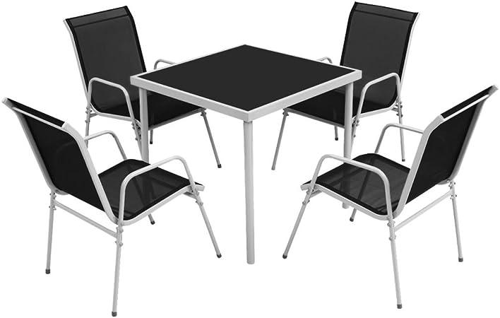 vidaXL Conjunto de Comedor de Jardín 5 Piezas Negro Muebles Mesa de Exterior: Amazon.es: Hogar