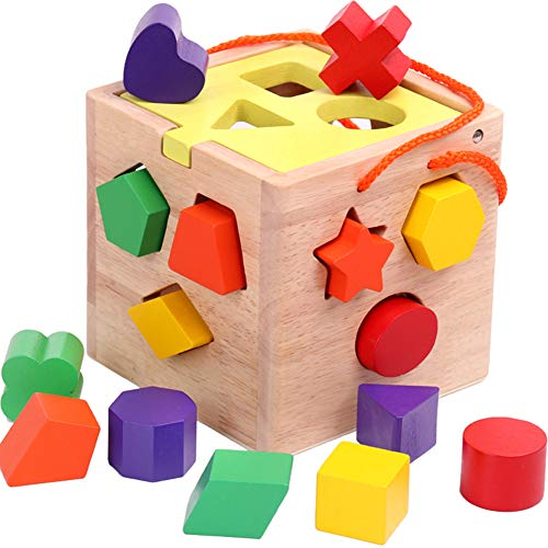 Joqutoys Shape Sorting Box with Stacking Blocks Educational Shape Sorter Cube for Kids (Shape Sorting Box)