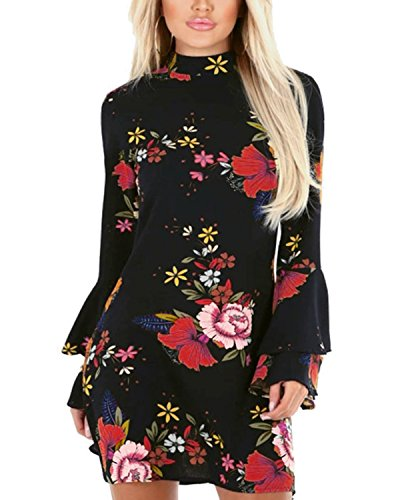 Dress Sleeves Mini Flared - YOINS Women Dress Random Floral Print Perkins Collar Flared Sleeves Mini Dresses 01 M