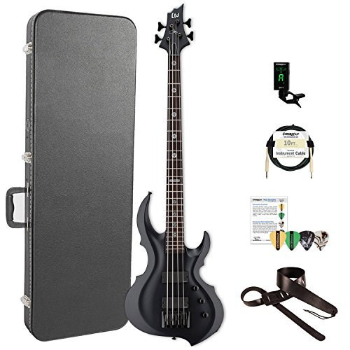 ESP LTA604FRXBLKS-KIT-2 Tom Araya Signature Series 604FRX Electric Bass, Black Satin by ESP