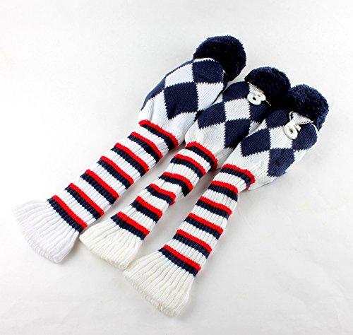 Golf Club Knit 3pcs Headcover Set Vintange Pom Pom Sock Covers 1-3-5 Blue / White / Red NEW (Sock Headcover)