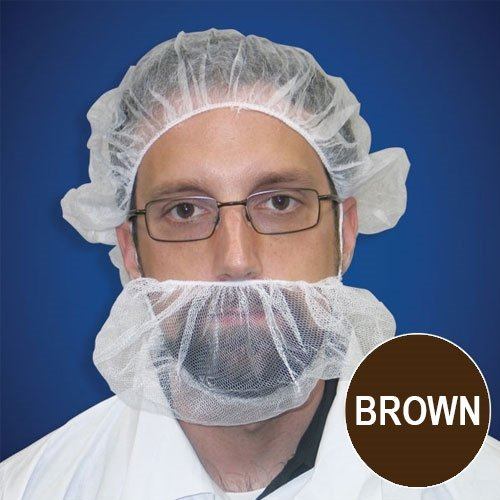 Beard Nets, Nylon Honeycomb, Brown, 1000/case by Keystone