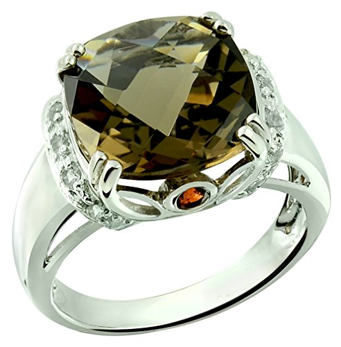 RB Gems Sterling Silver 925 Ring Genuine GEMS 7 Cts, Cushion 12 mm Rhodium-Plated Finish Cocktail Style (7, Smoky-Quartz)