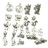 Pack of 20 Mixed Lots of Antique Silver Tone Cats Charms Pendants for Jewelry Making