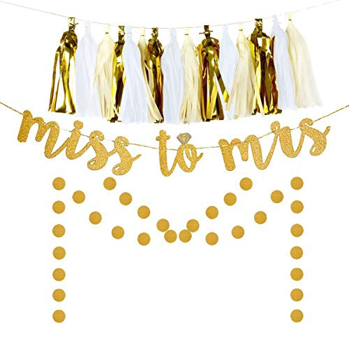 Cilkus Miss to Mrs Banner Tassel Dot Garland Kit for Bridal Shower Bachelorette Party Decoration