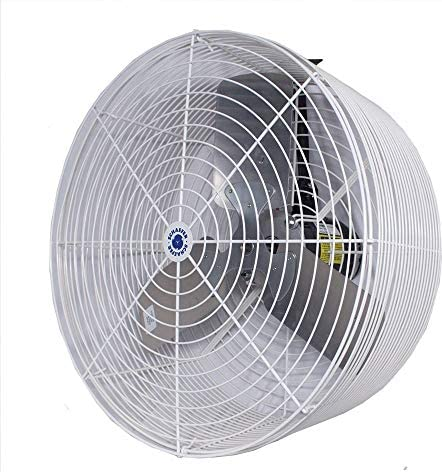 Schaefer VK24 Versa-Kool 24 Deep Guard Greenhouse Circulation Fan, Made in USA, Horizontal Airflow, 1 2 HP, 7860CFM, T-shape Mount Included, White