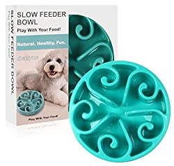 Slow Feeder Bowl - Siensync(tm) Fun Feeder Interactive Bloat Stop Dog Bowl, Eco-friendly Durable Non Toxic Bamboo Fiber Slow Feed Dog Bowl, Blue