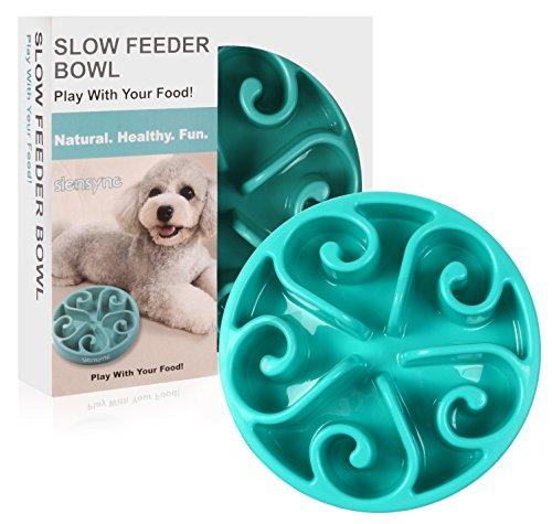 Siensync Slow Feeder Dog Bowl, Non Slip Puzzle Bowl Fun Feeder Interactive Bloat Stop Dog Bowl, Eco-Friendly Non Toxic Bamboo Fiber Slo Slow Feed Dog Bowl for Large Medium Small Dogs Cats