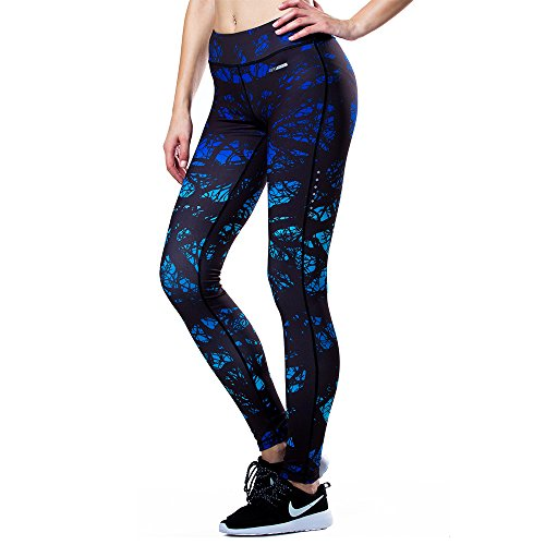 Eco-daily Women's Running Pants Leggings for Yoga, Gym Tights, Black/Blue, Large ()