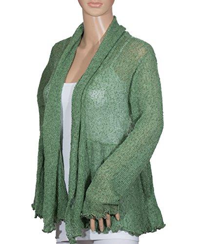 (Van Klee Tissue Knit Open Front Peplum Skirt Cardigan)