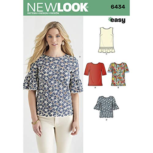 New Look Patterns Misses' Tops with Fabric Variations Size A (10-12-14-16-18-20-22) 6434