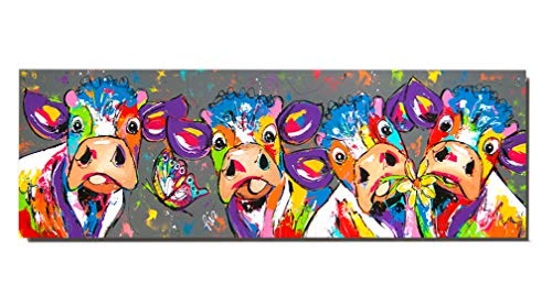 Colorful Four Cows Animals Graffiti Oil Painting Canvas Wall Art Picture for Bedroom Living Room Home Decor (No Frame,12x36 inch) - Art Deco Place Knife