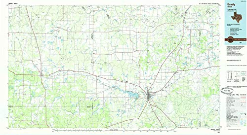 YellowMaps Brady TX topo map, 1:100000 Scale, 30 X 60 Minute, Historical, 1985, Updated 1985, 24.1 x 43.9 in - Tyvek