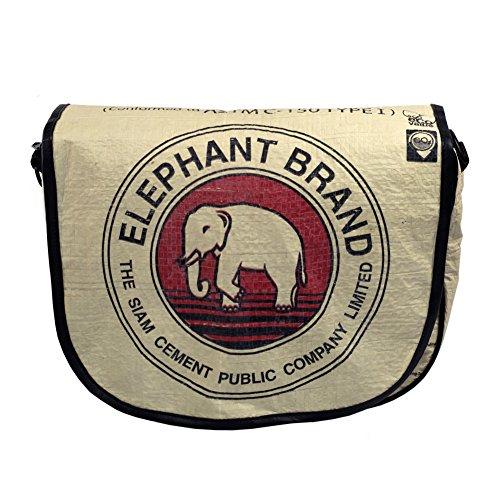Global Fashion Mission Messenger Bag Black Piping Elephant