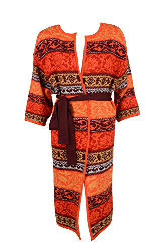 Matthew Williamson Womens Orange Print Belted Cardigan Sweater - Matthew Shop Williamson