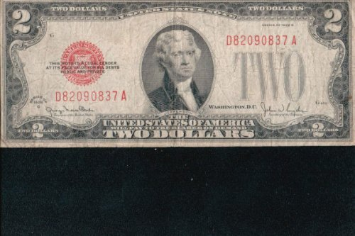 1928-G $2 United States Note -- Red Seal -- - Gold United Seal Note States