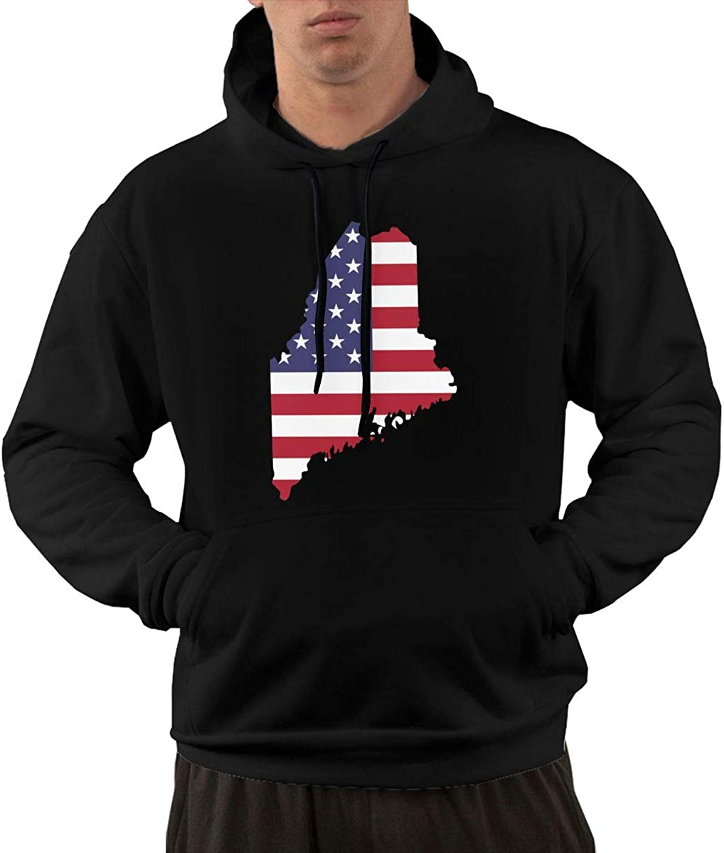 FASHION#CC Mens Pullover Hoodie Fleece with Pockets USA Maine State Map