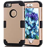 iPhone 5S/SE Case, MCUK [Heavy Duty] [Shock Resistant] [Drop Protection] Hybrid Best Impact Defender Cover Shell Plastic Outer & Rubber Silicone Inner for Apple iPhone 5S/SE (Gold+Black)