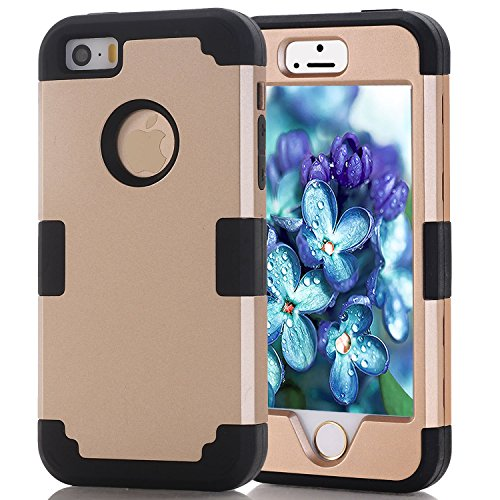 CUK [Heavy Duty] [Shock Resistant] [Drop Protection] Hybrid Best Impact Defender Cover Shell Plastic Outer & Rubber Silicone Inner for Apple iPhone 5S/SE (Gold+Black) ()