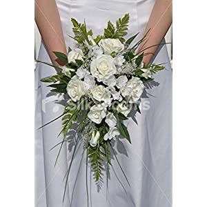 Ivory White Wedding Bridal Bouquet w/ Real Touch Roses & Freesia