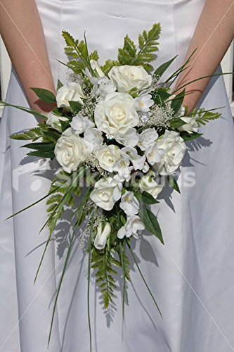 Ivory White Wedding Bridal Bouquet w/ Real Touch Roses & Freesia (Wedding Freesia Bouquet)