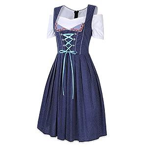 GloryStar Women's German Dirndl Dress 3 Pieces Traditional Bavarian Oktoberfest Costumes for Halloween Carnival