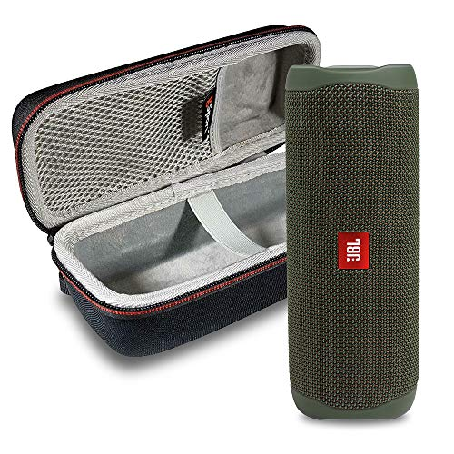 JBL FLIP 5 Portable Speaker IPX7 Waterproof On-The-Go Bundle with gSport Deluxe Hardshell Case (Green)