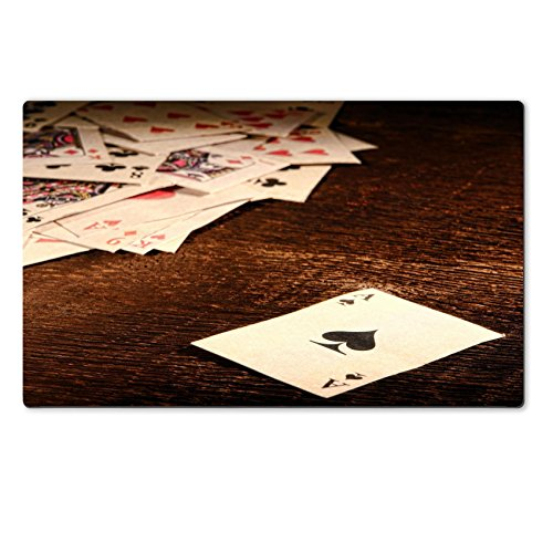 Old Weathered Wool (MSD Natural Rubber Large Table Mat IMAGE 26583393 American West Legend vintage ace of spade playing card and stack of antique poker game cards on a weathered wood table in)