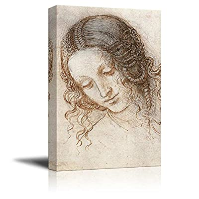 Original Creation, Amazing Design, Study for The Head of Leda by Leonardo da Vinci Print Famous Oil Painting Reproduction