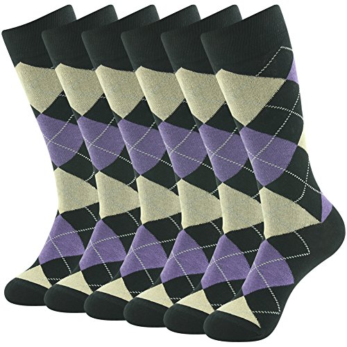 SUTTOS Mens Womens Unisex Adult April Fool's Day Gift Crazy Wonder Funky Colorful Purple Black Argyle Nordic Striped Art Patterned Casual Hiking Golf Crew Dress Suit Office Business Sock Easter Day Gift Socks,6 Pairs