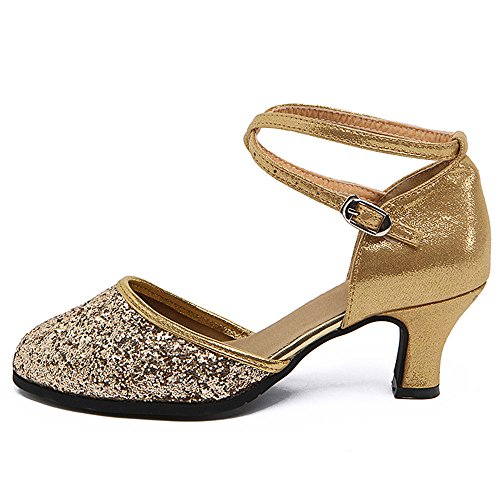 Bottom Samba Non Shoes Ladies Sandals Dance Gold Dance with Ankle Modern Jazz BYLE Dance Shoes Shoes Latin Shoes Soft Leather 35 Strap Dance Sequin Adult Ballroom Slip xCwaqnIIpB