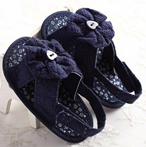 Bebé Prewalker Zapatos Auxma Princesa dulce Princesa del vestido de los bebés de los bebés Soled los zapatos inferiores Azul