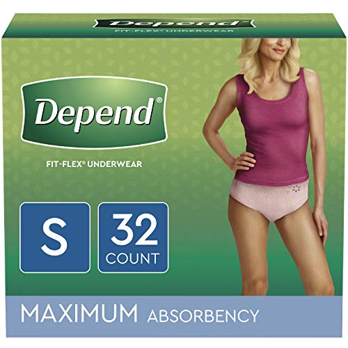Depend FIT-FLEX Incontinence Underwear for Women, Disposable, Maximum Absorbency, S, Blush, 32 Count (Depend Clark Undergarments Kimberly)