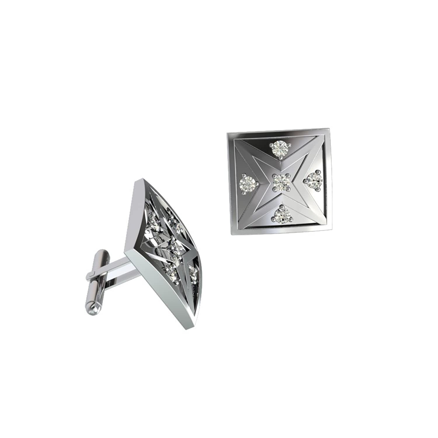 Diamond Cross Star Cuff links 10K Gold Cufflinks with 0.15 Ct Diamonds an Essential Accessory for Mens Formal Shirt / Suits