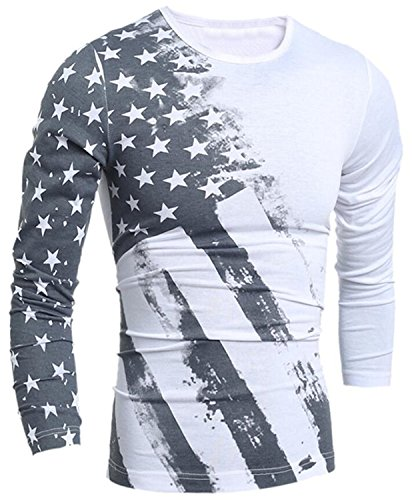 Mens American Flag Printed Long Sleeve Pullover Shirts X-Large (Pullover Men T Shirt)