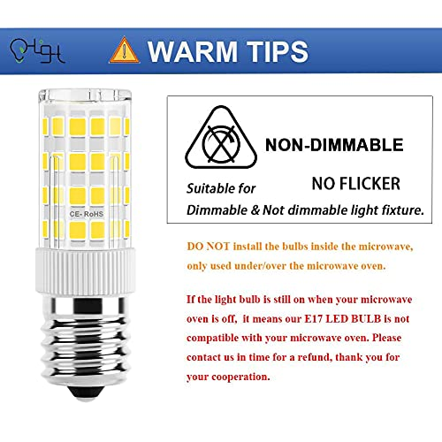 OHLGT E17 LED Bulb for Microwave Oven Appliance, 4 Watt (40W Halogen Bulb Equivalent), Daylight White 6000K, Non-Dimmable Led Microwave Bulbs, 350LM, Pack of 2