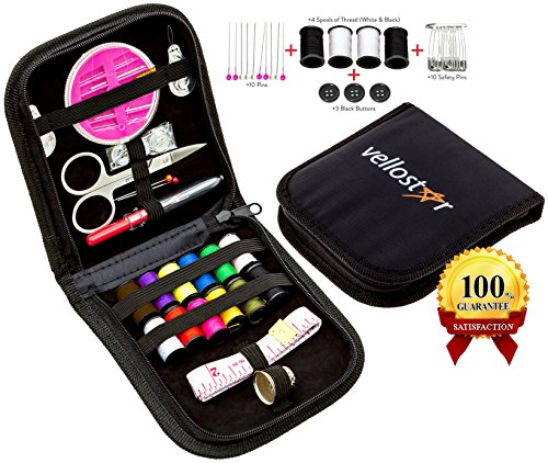 Vellostar Compact Sewing Kit for Home, Travel and Emergency, +4 Bonuses, High Quality Zippered Canvas Case, Premium Sewing Supplies for Mending and Fashion Emergencies, Perfect Gift, Black