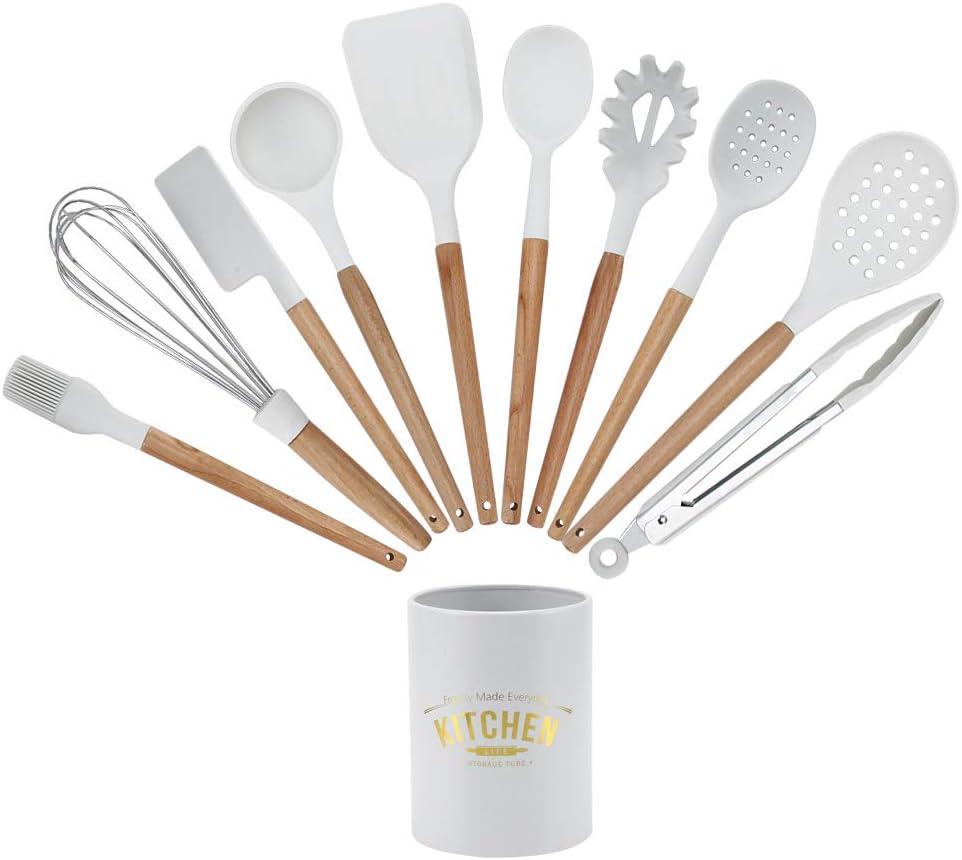 Kitchen Supplies Silicone Kitchenware Kit 11Pcs Cooking Restaurtant for Home Kitchen Kitchen Utensils White Storage Box Silicone Kitchenware Kitchenware Set