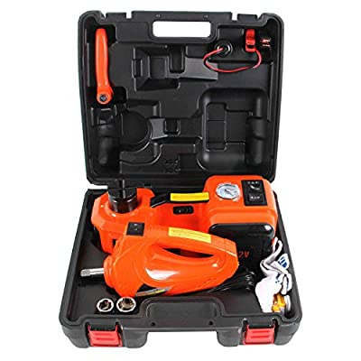MOTORMAN 12V DC 5.0T(11000 lbs) Multi-functional 3-in-1 Electric Hydraulic Floor Jack Set with Electric Impact Wrench