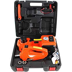 MOTORMAN TOOLS 12V DC 5.0T(11000 lbs) Electric Hydraulic Floor Jack & Inflator Pump & LED Light 3-in-1 Car Repair Tool Kit with Electric Impact Wrench