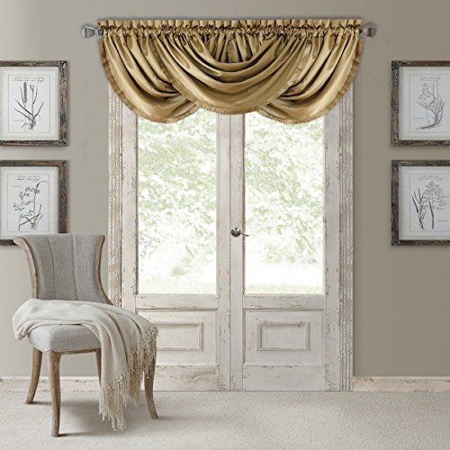 Elrene Home Fashions Versailles Faux Silk Room Darkening & Energy Efficient Lined Rod Pocket Window Curtain Drape Pleated Solid Waterfall Valance, 52