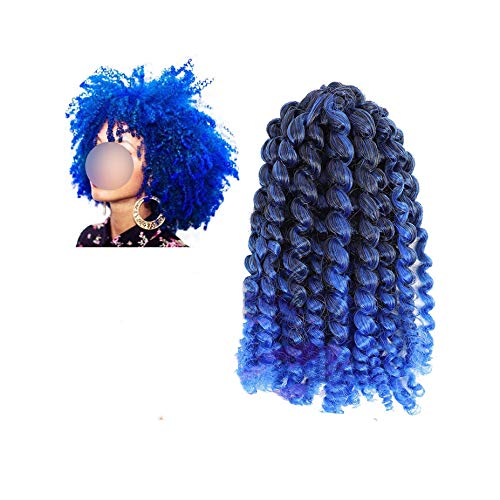 Kinky Curly Ombre hair Crochet braids marley Synthetic Braiding Hair Extensions for any women 8inch 30g/pc,T1B/Blue,8 inch,1Pcs