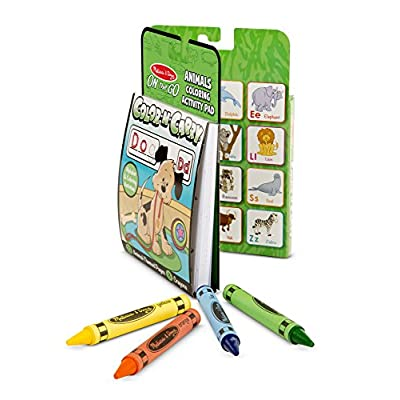 Melissa & Doug On the Go Color-N-Carry Activity Book: Alphabet and Animals - 72 Pages, 8 Crayons: Melissa & Doug: Toys & Games