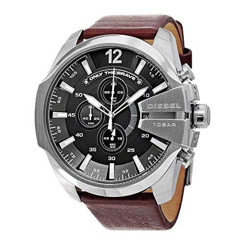 Diesel Men's Mega Chief Quartz Stainless Steel and Leather Chronograph Watch, Color: Silver-Tone, Brown (Model: DZ4290) -