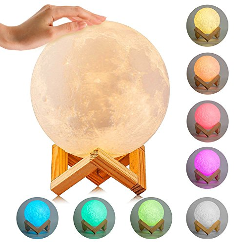 Moon Lamp, ICOCO 3D Printing Moon Light, Dimmable Touch Control LED Night Light 8 Colors