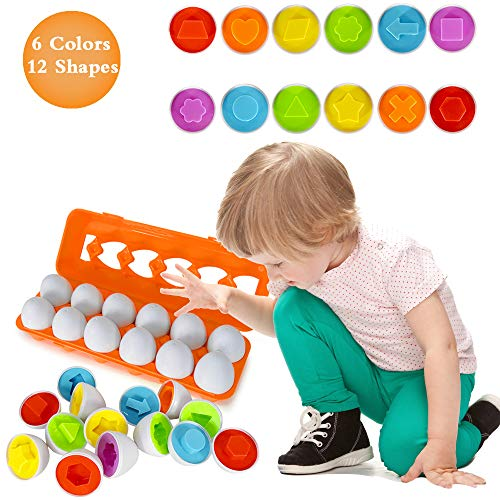Angusiasm Educational Toys for 1 2 3+ Year Olds,Easter Color Matching Egg Set Educational Color & Number Recognition Skills Learning Toy Gifts for Kids Toddlers Age 1 2 3 4+... ()