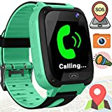 Kids Smart Watches with Sim Card Slot- 1.44'' GPS Tracker Wrist Smart Watch Phone for Boys Girls with Camera Pedometer Wearable Smartwatch Bracelet Children Birthday Travel (Green)